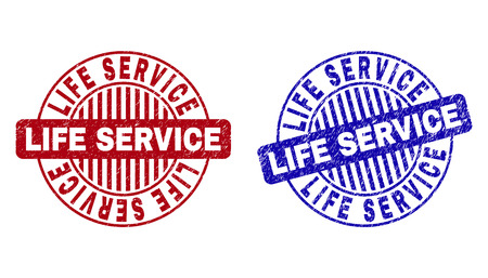 Grunge LIFE SERVICE round stamp seals isolated on a white background. Round seals with grunge texture in red and blue colors.