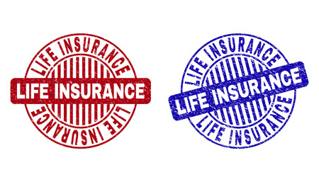 Grunge LIFE INSURANCE round stamp seals isolated on a white background. Round seals with grunge texture in red and blue colors.