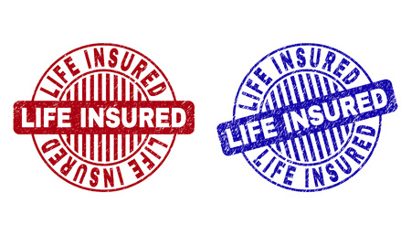 Grunge LIFE INSURED round stamp seals isolated on a white background. Round seals with distress texture in red and blue colors. Illustration