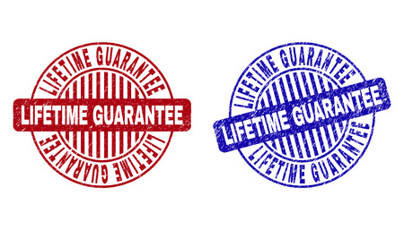 Grunge LIFETIME GUARANTEE round stamp seals isolated on a white background. Round seals with grunge texture in red and blue colors.