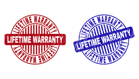 Grunge LIFETIME WARRANTY round stamp seals isolated on a white background. Round seals with grunge texture in red and blue colors.