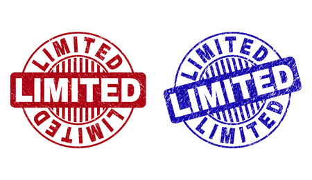Grunge LIMITED round stamp seals isolated on a white background. Round seals with grunge texture in red and blue colors. Vector rubber watermark of LIMITED text inside circle form with stripes.