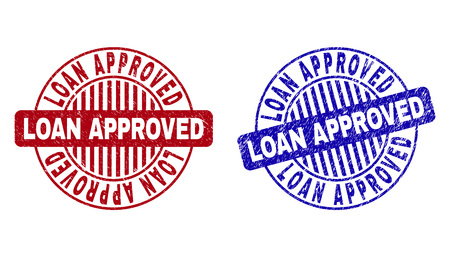 Grunge LOAN APPROVED round stamp seals isolated on a white background. Round seals with distress texture in red and blue colors.