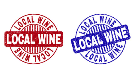 Grunge LOCAL WINE round stamp seals isolated on a white background. Round seals with grunge texture in red and blue colors. Vector rubber overlay of LOCAL WINE tag inside circle form with stripes.