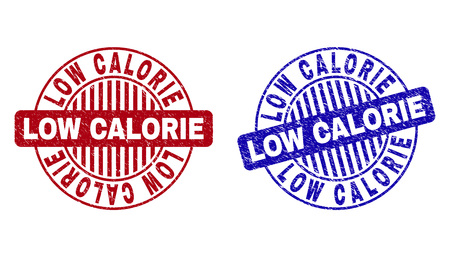 Grunge LOW CALORIE round stamp seals isolated on a white background. Round seals with distress texture in red and blue colors.