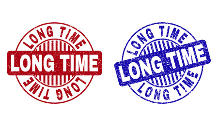 Grunge LONG TIME round stamps isolated on a white background. Round seals with grunge texture in red and blue colors. Vector rubber imprint of LONG TIME tag inside circle form with stripes. Иллюстрация
