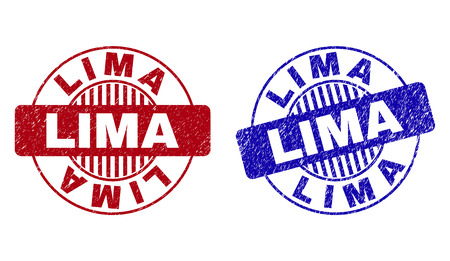 Grunge LIMA round stamp seals isolated on a white background. Round seals with grunge texture in red and blue colors. Vector rubber watermark of LIMA caption inside circle form with stripes. Foto de archivo - 123999462