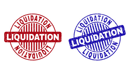 Grunge LIQUIDATION round stamp seals isolated on a white background. Round seals with grunge texture in red and blue colors.