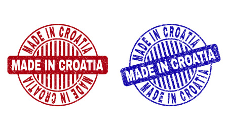 Grunge MADE IN CROATIA round stamp seals isolated on a white background. Round seals with grunge texture in red and blue colors. Illustration