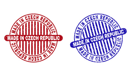 Grunge MADE IN CZECH REPUBLIC round stamp seals isolated on a white background. Round seals with distress texture in red and blue colors.