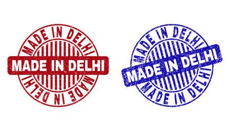 Grunge MADE IN DELHI round stamp seals isolated on a white background. Round seals with grunge texture in red and blue colors. Illustration