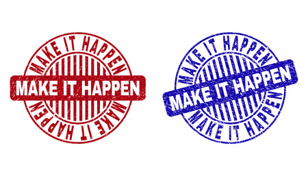 Grunge MAKE IT HAPPEN round stamp seals isolated on a white background. Round seals with grunge texture in red and blue colors. Illustration