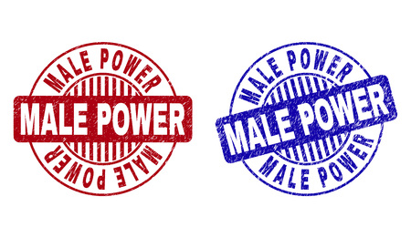 Grunge MALE POWER round stamp seals isolated on a white background. Round seals with grunge texture in red and blue colors. Vector rubber imprint of MALE POWER label inside circle form with stripes. Vettoriali