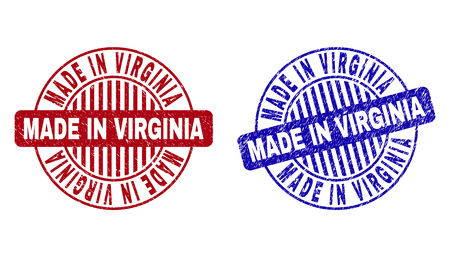 Grunge MADE IN VIRGINIA round stamp seals isolated on a white background. Round seals with grunge texture in red and blue colors. Ilustrace
