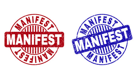 Grunge MANIFEST round stamp seals isolated on a white background. Round seals with grunge texture in red and blue colors. Vector rubber watermark of MANIFEST text inside circle form with stripes.