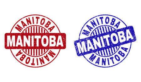 Grunge MANITOBA round stamp seals isolated on a white background. Round seals with grunge texture in red and blue colors. Vector rubber imprint of MANITOBA title inside circle form with stripes.