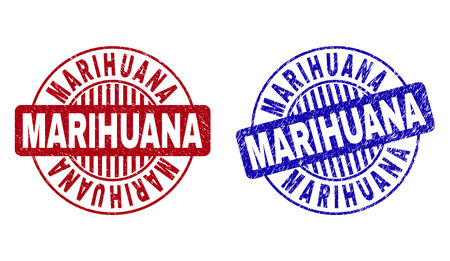 Grunge MARIHUANA round stamp seals isolated on a white background. Round seals with grunge texture in red and blue colors. Vector rubber imprint of MARIHUANA label inside circle form with stripes.
