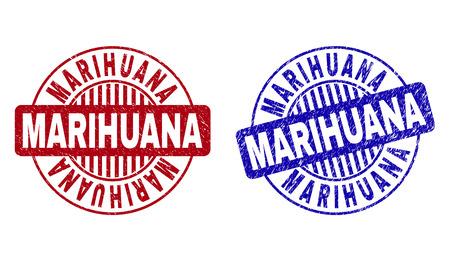 Grunge MARIHUANA Runde Stempelsiegel isoliert auf weißem Hintergrund. Runde Dichtungen mit Grunge-Textur in roten und blauen Farben. Vektorgummiaufdruck des MARIHUANA-Etiketts in Kreisform mit Streifen. Vektorgrafik