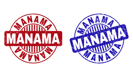 Grunge MANAMA round stamp seals isolated on a white background. Round seals with grunge texture in red and blue colors. Vector rubber watermark of MANAMA caption inside circle form with stripes. Illustration