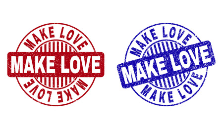 Grunge MAKE LOVE round stamp seals isolated on a white background. Round seals with grunge texture in red and blue colors. Vector rubber imprint of MAKE LOVE label inside circle form with stripes.
