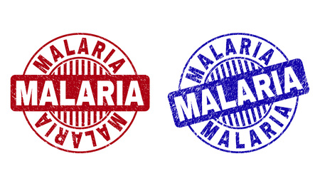 Grunge MALARIA round stamp seals isolated on a white background. Round seals with distress texture in red and blue colors. Vector rubber imitation of MALARIA title inside circle form with stripes.