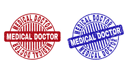 Grunge MEDICAL DOCTOR round stamp seals isolated on a white background. Round seals with grunge texture in red and blue colors.