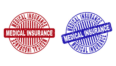 Grunge MEDICAL INSURANCE round stamp seals isolated on a white background. Round seals with grunge texture in red and blue colors.