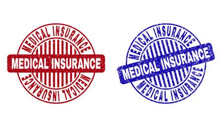 Sellos de sello redondo de SEGURO MÉDICO de Grunge aislados en un fondo blanco. Sellos redondos con textura grunge en colores rojo y azul. Ilustración de vector