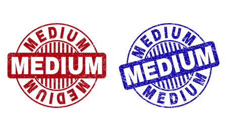 Grunge MEDIUM round stamp seals isolated on a white background. Round seals with grunge texture in red and blue colors. Vector rubber overlay of MEDIUM caption inside circle form with stripes.