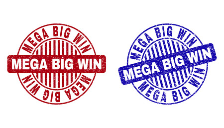 Grunge MEGA BIG WIN round stamp seals isolated on a white background. Round seals with grunge texture in red and blue colors.