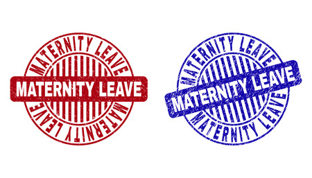 Grunge MATERNITY LEAVE round stamp seals isolated on a white background. Round seals with grunge texture in red and blue colors.