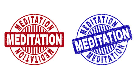 Grunge MEDITATION round stamp seals isolated on a white background. Round seals with grunge texture in red and blue colors. Vector rubber watermark of MEDITATION title inside circle form with stripes.