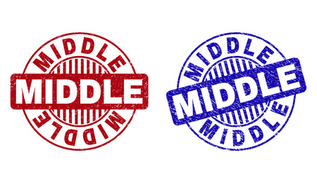 Grunge MIDDLE round stamp seals isolated on a white background. Round seals with grunge texture in red and blue colors. Vector rubber overlay of MIDDLE tag inside circle form with stripes. Vetores