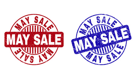Grunge MAY SALE round stamp seals isolated on a white background. Round seals with grunge texture in red and blue colors. Vector rubber watermark of MAY SALE label inside circle form with stripes. Vecteurs