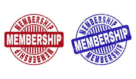 Grunge MEMBERSHIP round stamp seals isolated on a white background. Round seals with grunge texture in red and blue colors. Vector rubber overlay of MEMBERSHIP title inside circle form with stripes.