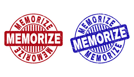 Grunge MEMORIZE round stamp seals isolated on a white background. Round seals with grunge texture in red and blue colors. Vector rubber imitation of MEMORIZE text inside circle form with stripes. Çizim