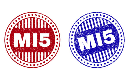 Grunge MI5 round stamp seals isolated on a white background. Round seals with grunge texture in red and blue colors. Vector rubber imprint of MI5 text inside circle form with stripes.