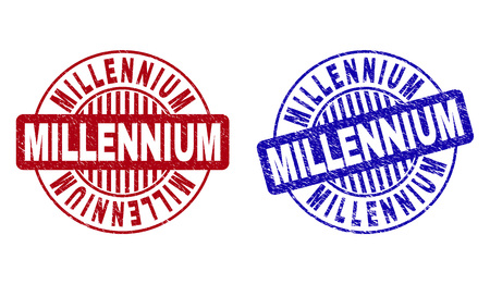 Grunge MILLENNIUM round stamp seals isolated on a white background. Round seals with grunge texture in red and blue colors. Vector rubber watermark of MILLENNIUM title inside circle form with stripes.