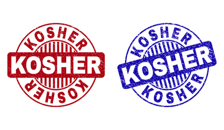 Grunge KOSHER round stamp seals isolated on a white background. Round seals with grunge texture in red and blue colors. Vector rubber imitation of KOSHER label inside circle form with stripes.