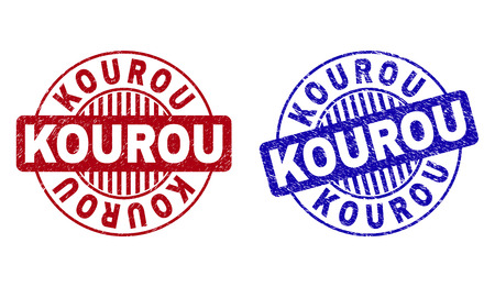 Grunge KOUROU round stamp seals isolated on a white background. Round seals with grunge texture in red and blue colors. Vector rubber imprint of KOUROU title inside circle form with stripes. Çizim