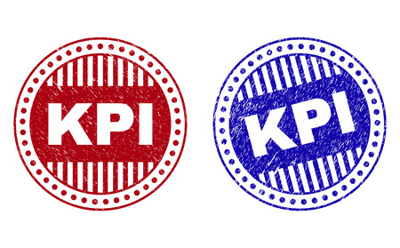 Grunge KPI round stamp seals isolated on a white background. Round seals with distress texture in red and blue colors. Vector rubber imprint of KPI label inside circle form with stripes.