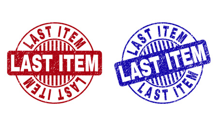 Grunge LAST ITEM round stamp seals isolated on a white background. Round seals with grunge texture in red and blue colors. Vector rubber overlay of LAST ITEM label inside circle form with stripes.