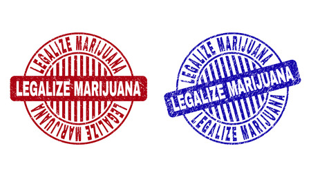Grunge LEGALIZE MARIJUANA round stamp seals isolated on a white background. Round seals with grunge texture in red and blue colors.