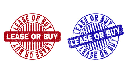 Grunge LEASE OR BUY round stamp seals isolated on a white background. Round seals with grunge texture in red and blue colors.