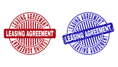 Grunge LEASING AGREEMENT round stamp seals isolated on a white background. Round seals with grunge texture in red and blue colors.