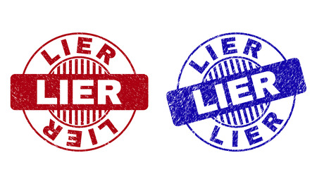 Grunge LIER round stamp seals isolated on a white background. Round seals with grunge texture in red and blue colors. Vector rubber watermark of LIER caption inside circle form with stripes. 일러스트