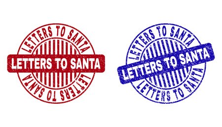 Grunge LETTERS TO SANTA round stamp seals isolated on a white background. Round seals with grunge texture in red and blue colors.