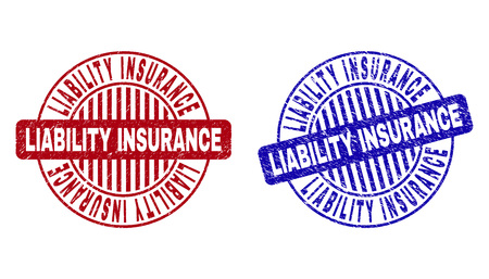 Grunge LIABILITY INSURANCE round stamp seals isolated on a white background. Round seals with grunge texture in red and blue colors.