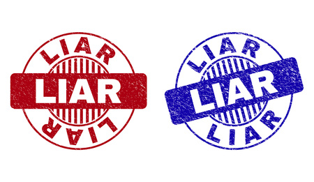 Grunge LIAR round stamp seals isolated on a white background. Round seals with grunge texture in red and blue colors. Vector rubber watermark of LIAR title inside circle form with stripes.