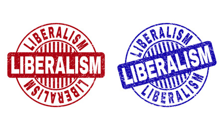 Grunge LIBERALISM round stamp seals isolated on a white background. Round seals with grunge texture in red and blue colors. Vector rubber imitation of LIBERALISM label inside circle form with stripes.